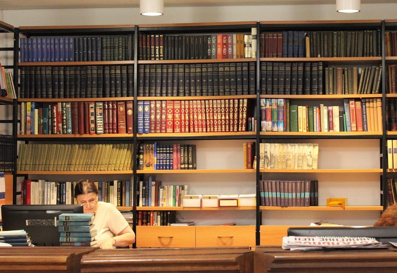 library, rack, books